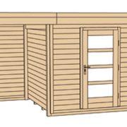 Weka faház fatárolóval építve