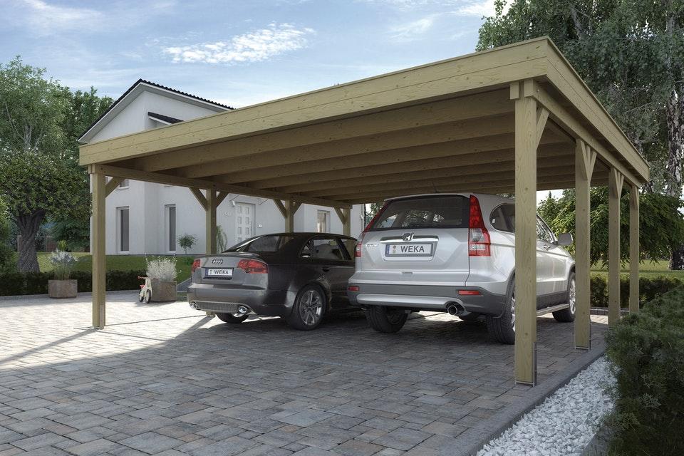 Nyitott garázs Master kocsibeálló Weka 609 acél tetővel